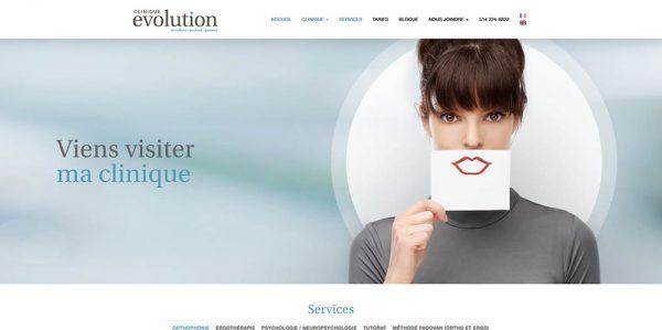 Clinique Évolution : résalisation de La Coquille Web